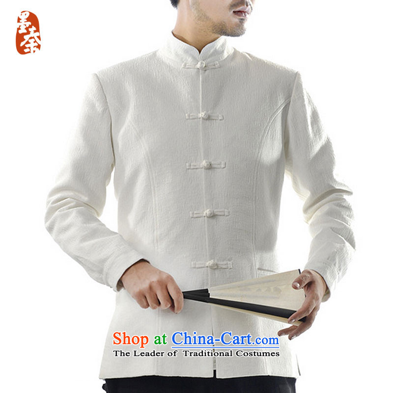 The qin designer original cotton linen men jacquard Tang jackets and chinese retro-clip mq1008003 XXL_ leisure jacket white giant