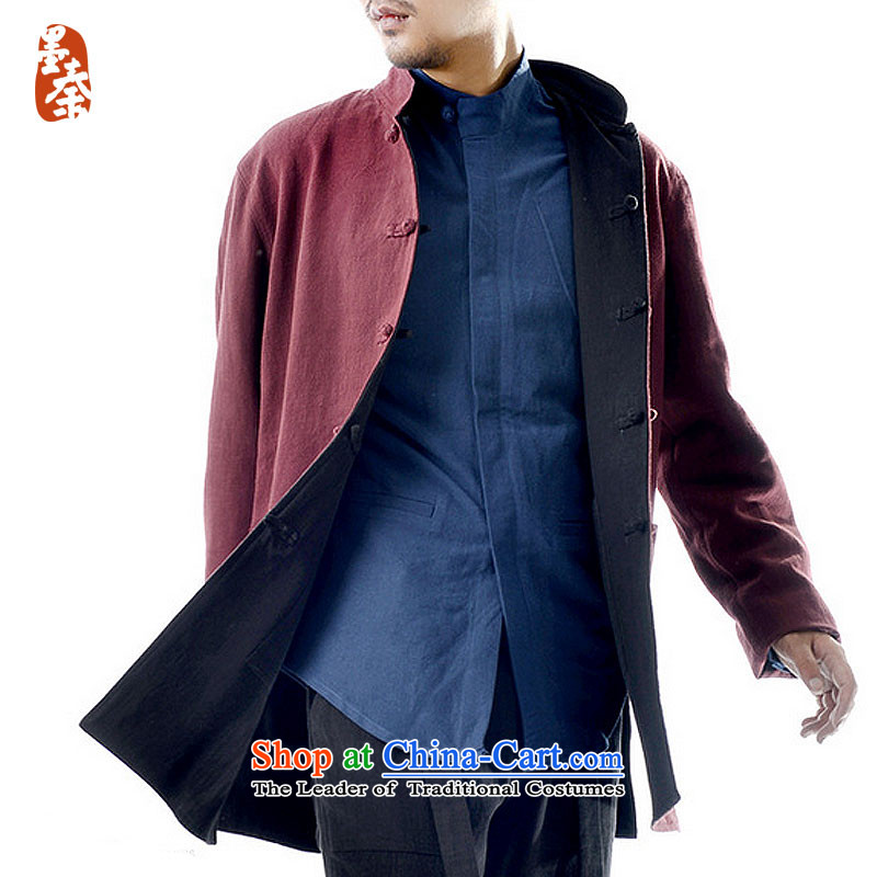 The qin designer original 2015 winter jacket, national costumes Chinese long-sleeved jacket double Tang dynasty mq1008007 wine red + Black FORWARDED BY THE largest