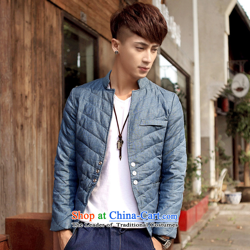 Gurun vani 2015 autumn and winter, Tang Dynasty Chinese tunic male Korean collar down casual Sau San jacket male?8066 Denim blue?XL