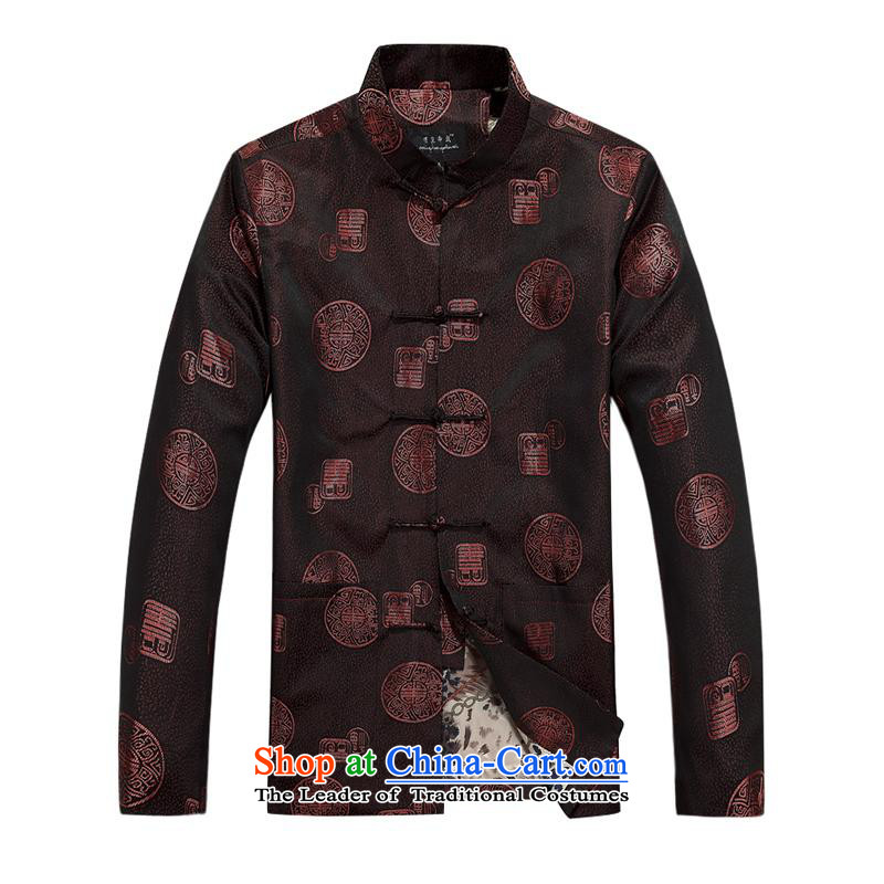 Tang dynasty male jacket coat long-sleeved thick cotton warm in the older men Tang dynasty father replace 2015 autumn and winter new products fu shou plus cotton red聽190