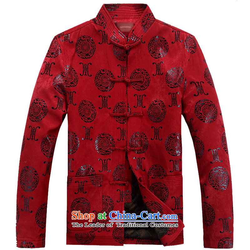Thre line autumn and winter and the new Man Tang dynasty ?t��a birthday banquet wedding ceremony in spring and autumn older Tang Blouses Chinese collar manually disc?, the red red clip F07 winter)?XL/180