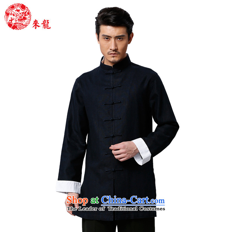 To Tang Dynasty Dragon 2015 autumn and winter New China wind men tray clip cotton jacket�573燚eep Blue Dark Blue�
