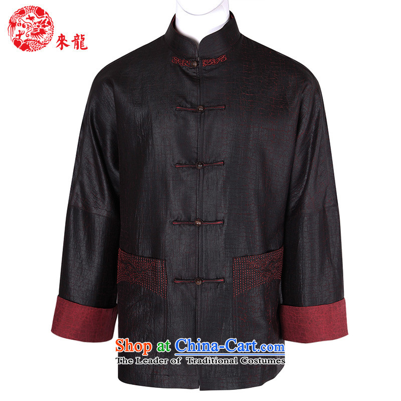 To Tang dynasty dragon autumn and winter, China wind in older men detained Heung-cloud color clip yarn jacket�898燿ark red dark red�