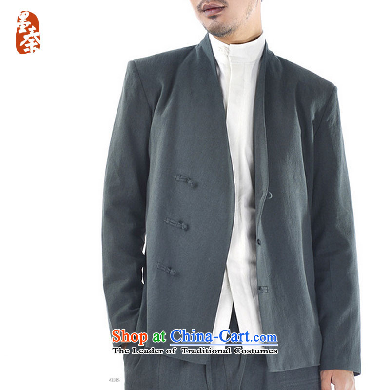 The qin designer original winter) thick cotton linen Men's Jackets Chinese Disc deduction of nostalgia for the long-sleeved Tang dynasty mq1008013?FORWARDED BY THE large Olive Green
