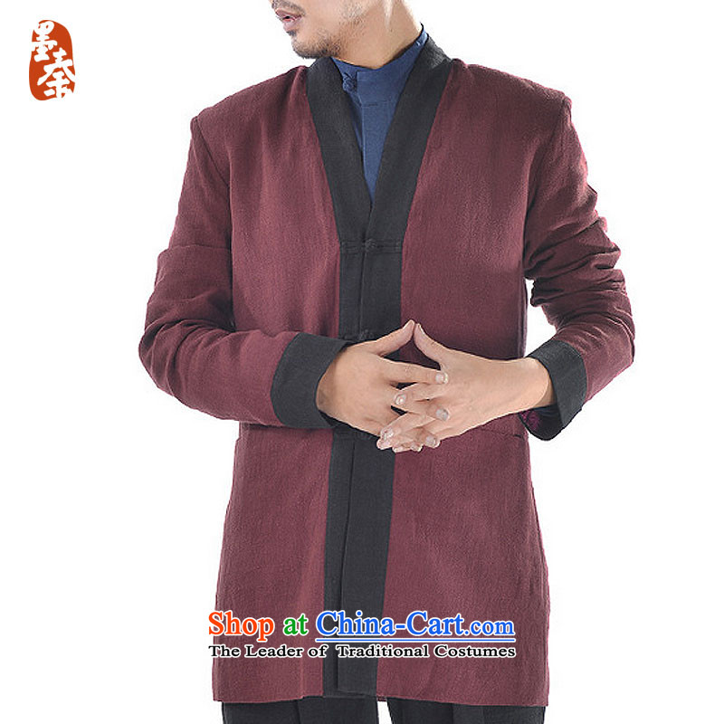 The qin designer original 2015 Winter New Tang dynasty improved Han-men's jackets mq1008016 Chinese dark red?FORWARDED BY THE largest