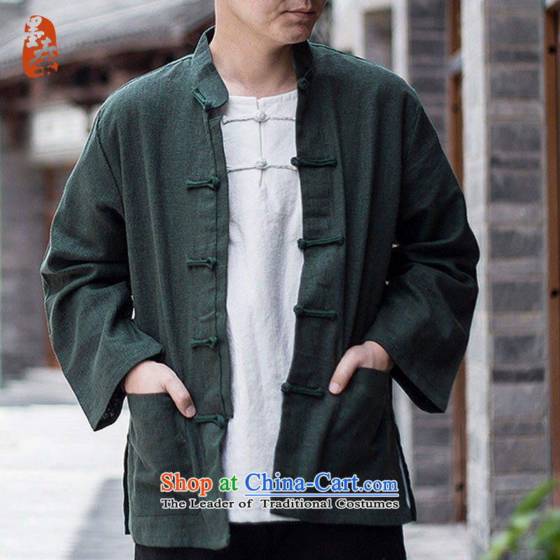 The qin designer original men spring, tie-dye collar of his breast Chinese Yi long-sleeved shirt with tie-Tang dynasty mq1003005 dark green燲XL