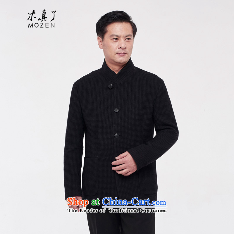 The Tang dynasty really wooden Men's Shirt 2015 autumn and winter new wool a jacket China wind 0904 Men's Mock-Neck燲XXXL 01 Black