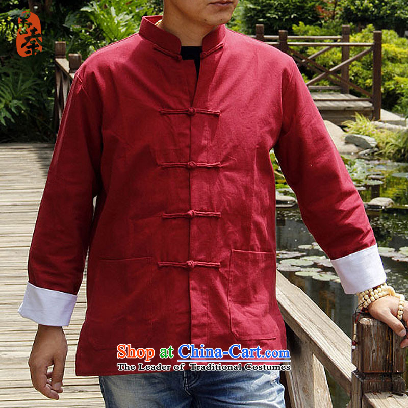 The qin designer original National Autumn, tie-dye Chinese Men's Shirt long-sleeved jacket detained disc Tang dynasty mq1003006 red?XXL