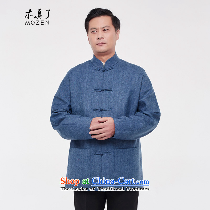 The Tang Dynasty outfits wood really men t-shirt 2015 autumn and winter New China Wind Jacket collar wool ethnic 43278 11 light blue燲XL
