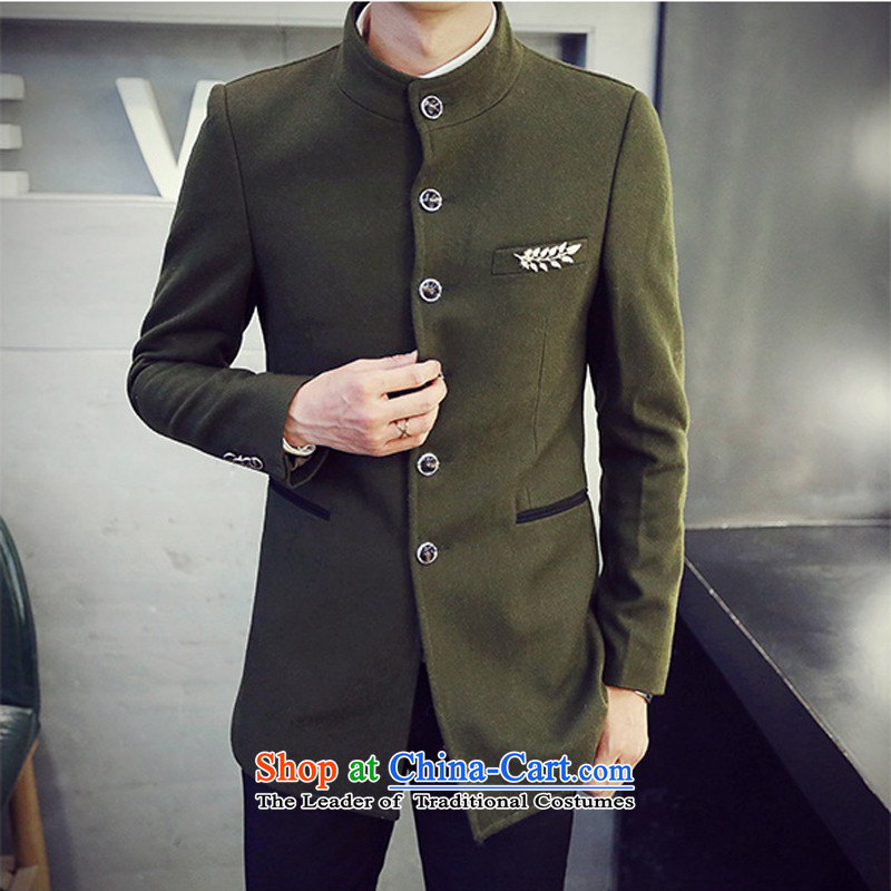 Kai removals by sinks Chinese tunic collar Sau San China wind suit male leisure. Long hair? Army Green Jacket coat?XXL