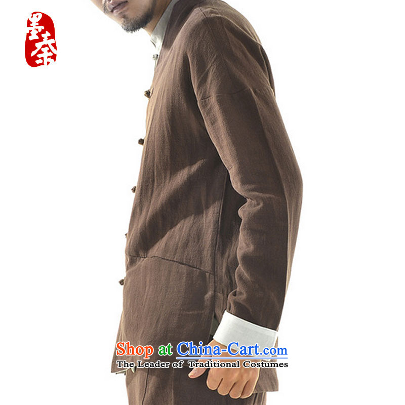 The original innovation of Qin Designer Tang dynasty China Wind Jacket autumn of ethnic Chinese collar improved cotton linen mqxs22001 Han-brown L