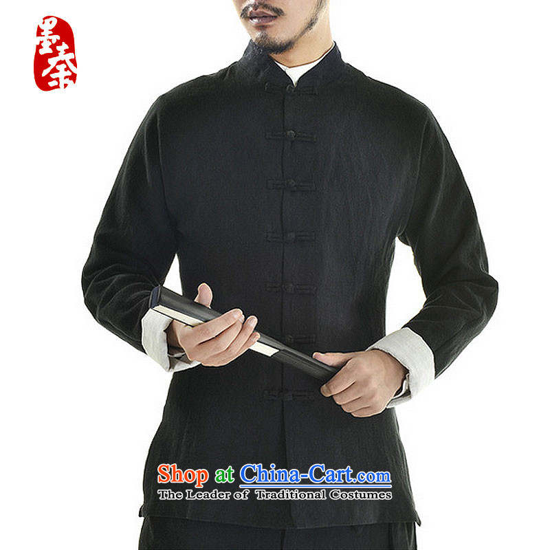 The qin designer original autumn new cotton linen Tang dynasty wholesale male long-sleeved jacket mqxs22005 Tang Black燺.