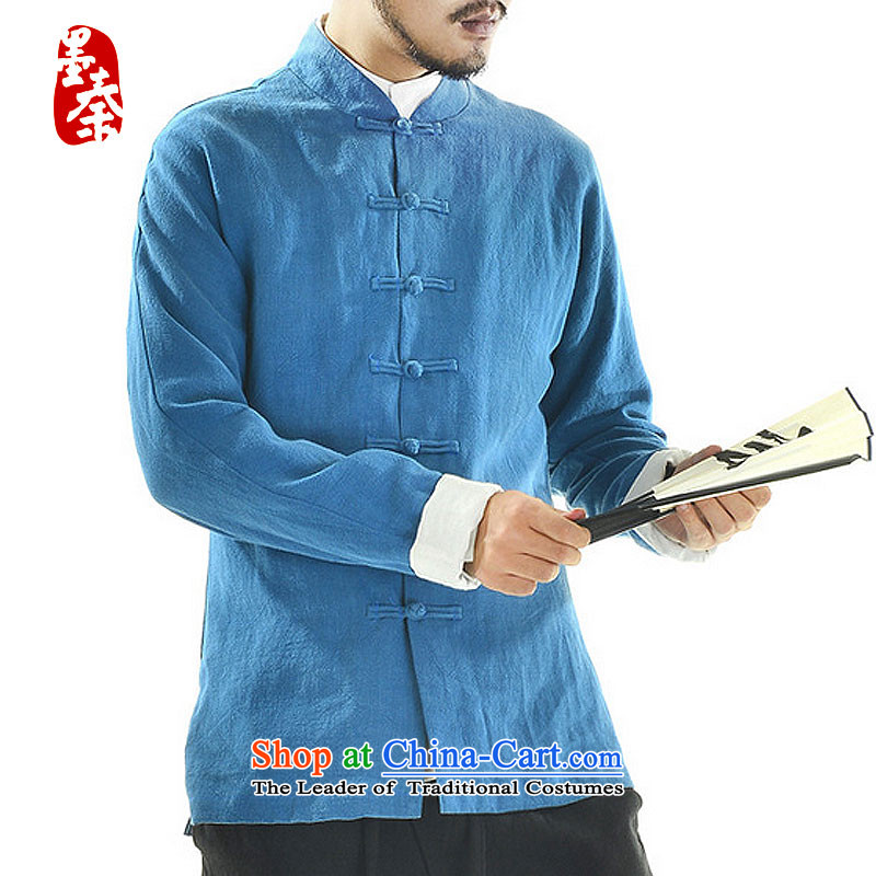 The qin designer original autumn new cotton linen Tang dynasty wholesale male long-sleeved jacket mqxs22005 Tang Black /, ink Qin , , , shopping on the Internet