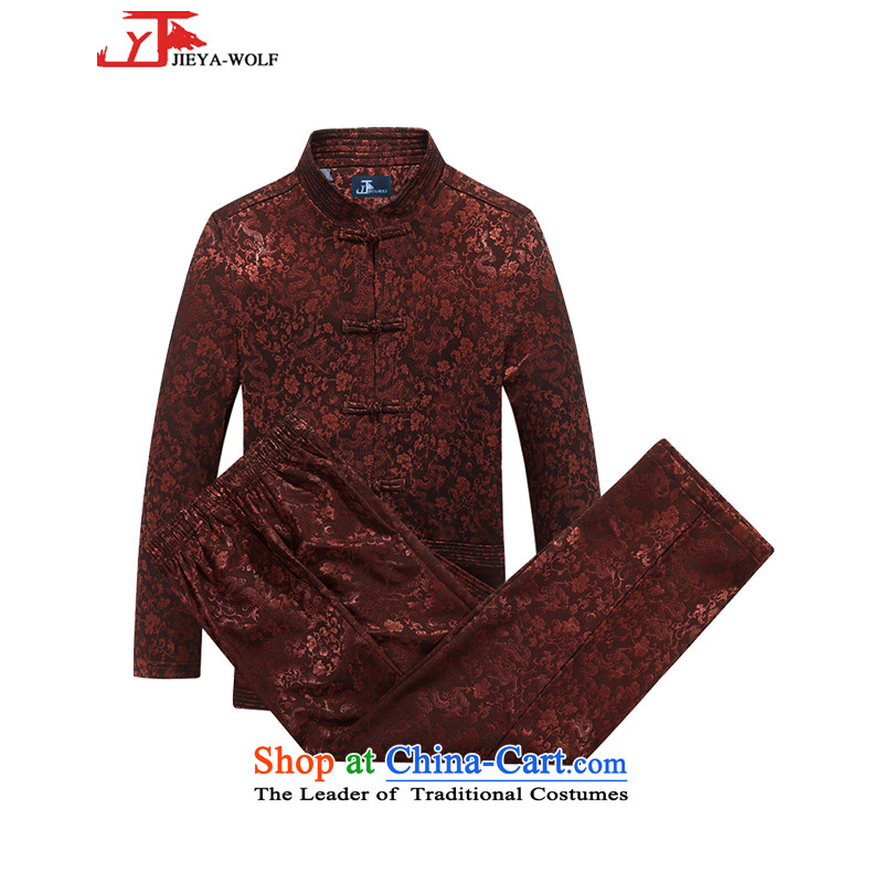- Wolf JIEYA-WOLF, New Package Tang dynasty men's autumn and winter jackets version is smart casual jacket sheikhs wind Tai Chi Kit 185_XXL deep red
