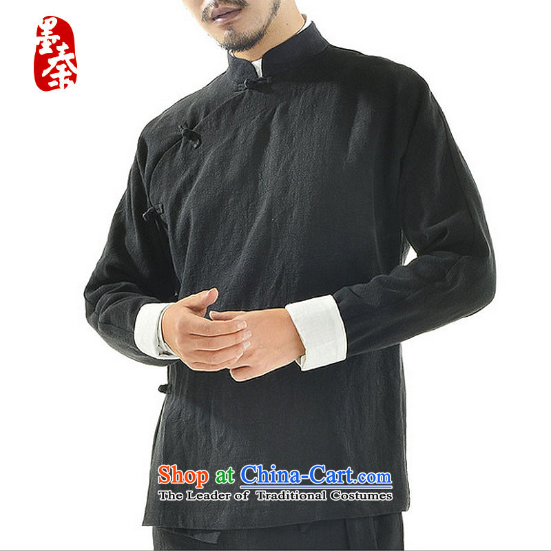 The qin designer original autumn 2015 new retro China wind is pressed a mock-neck disc detained men Han-Tang dynasty national Chinese men mqxs22 linen black聽_.