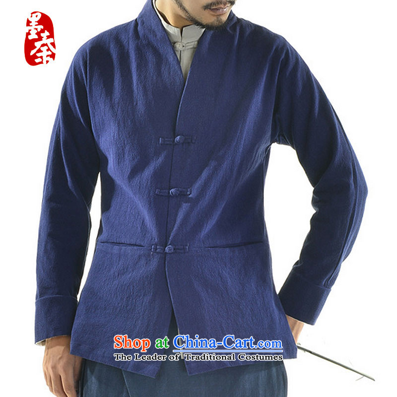 The qin designer original original autumn 2015 new wholesale Han-Menswear Chinese cotton linen retro Tang jackets and China wind mqxs2201 dark blue XXL