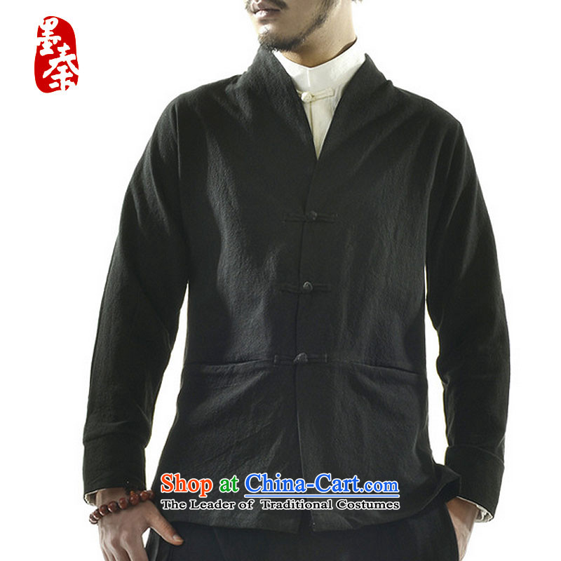 The qin designer original original autumn 2015 new wholesale Han-Menswear Chinese cotton linen retro Tang jackets and China wind mqxs2201聽XXL, deep blue ink Qin , , , shopping on the Internet