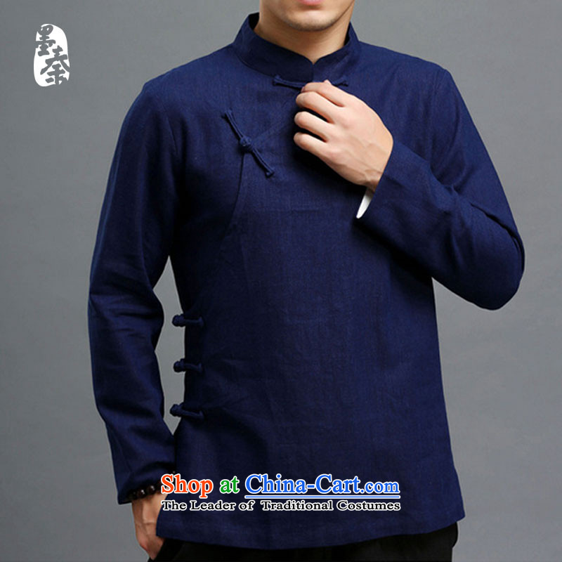 The qin designer original autumn New China wind cotton linen tray clip Tang dynasty youth leisure jacket mqxs22013 Dark Blue?_.