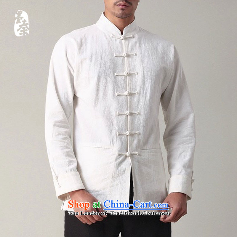 The qin designer original China wind men tray clip comfortable cotton linen retro long-sleeved male National Tang dynasty mqxs22018 white S