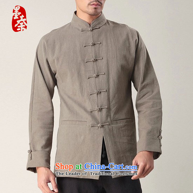 The qin designer original China wind men tray clip comfortable cotton linen retro long-sleeved male National Tang dynasty white聽ink, Qin mqxs22018 shopping on the Internet has been pressed.