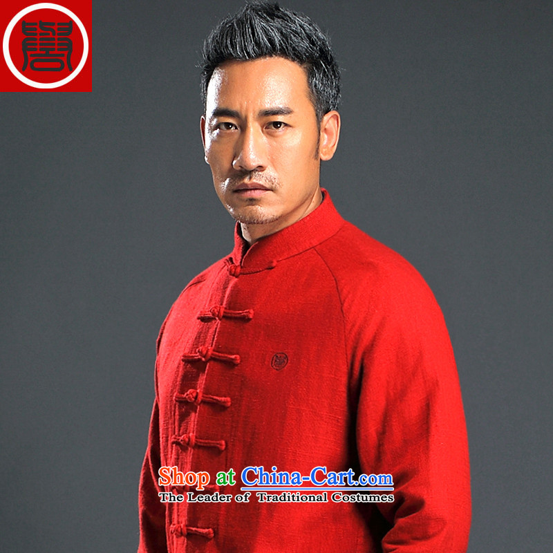 Renowned China wind up detained men Tang dynasty long-sleeved male Han-linen leisure men loose autumn cotton linen shirt Red聽4XL