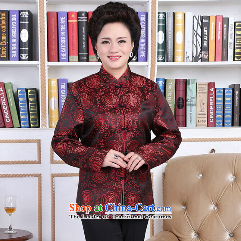Floral autumn and winter in the new elderly men and women Tang dynasty taxi couples with brocade coverlets made long-sleeved jacket robe wedding womens?2XL