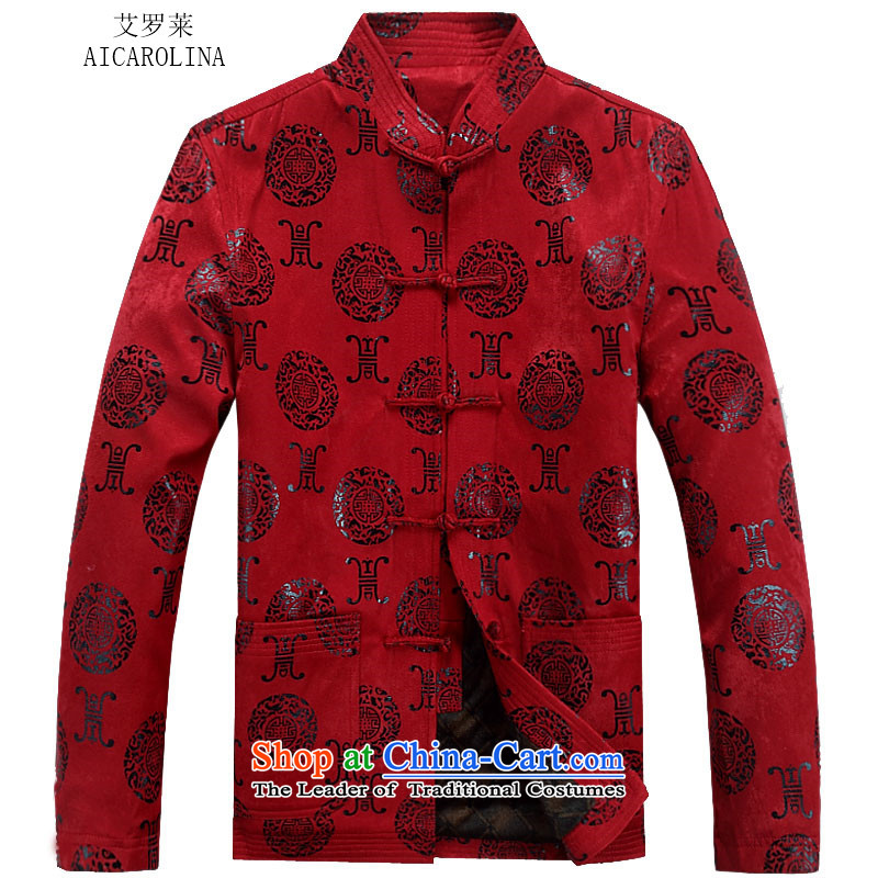 Hiv Rollet new older persons with thick autumn and winter Tang, manually disc detained long-sleeved jacket Tang men燲XXL red