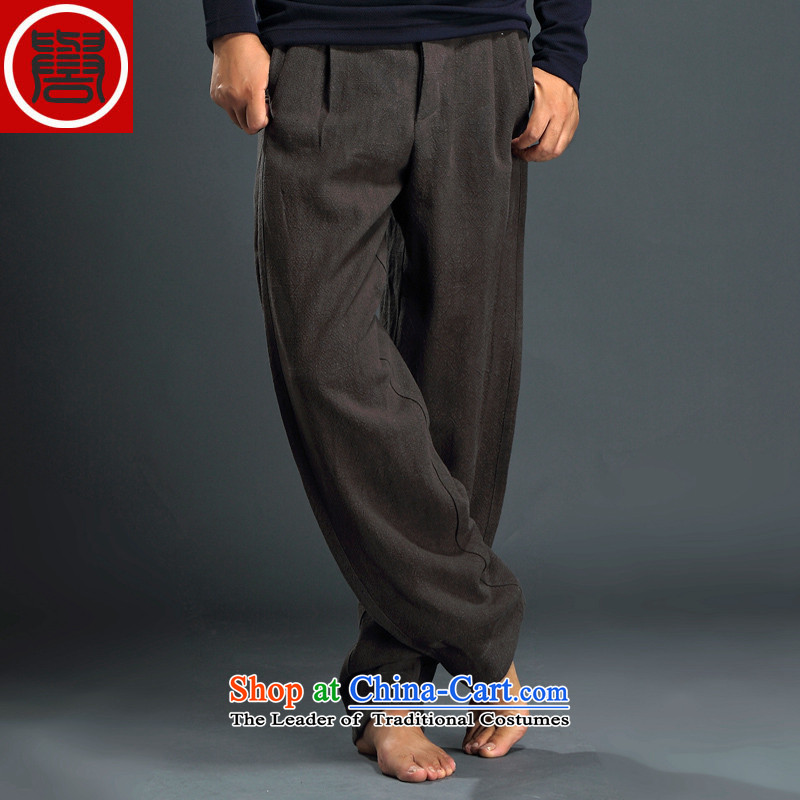 Renowned Tang dynasty autumn and winter male-casual pants and Chinese tunic loose trousers linen pants Harun trousers men China wind cotton linen pants Han-Army green聽L