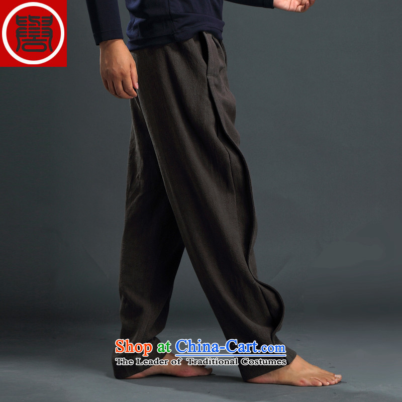 Renowned Tang dynasty autumn and winter male-casual pants and Chinese tunic loose trousers linen pants Harun trousers men China wind cotton linen pants Han-Army Green, L, renowned (CHIYU) , , , shopping on the Internet