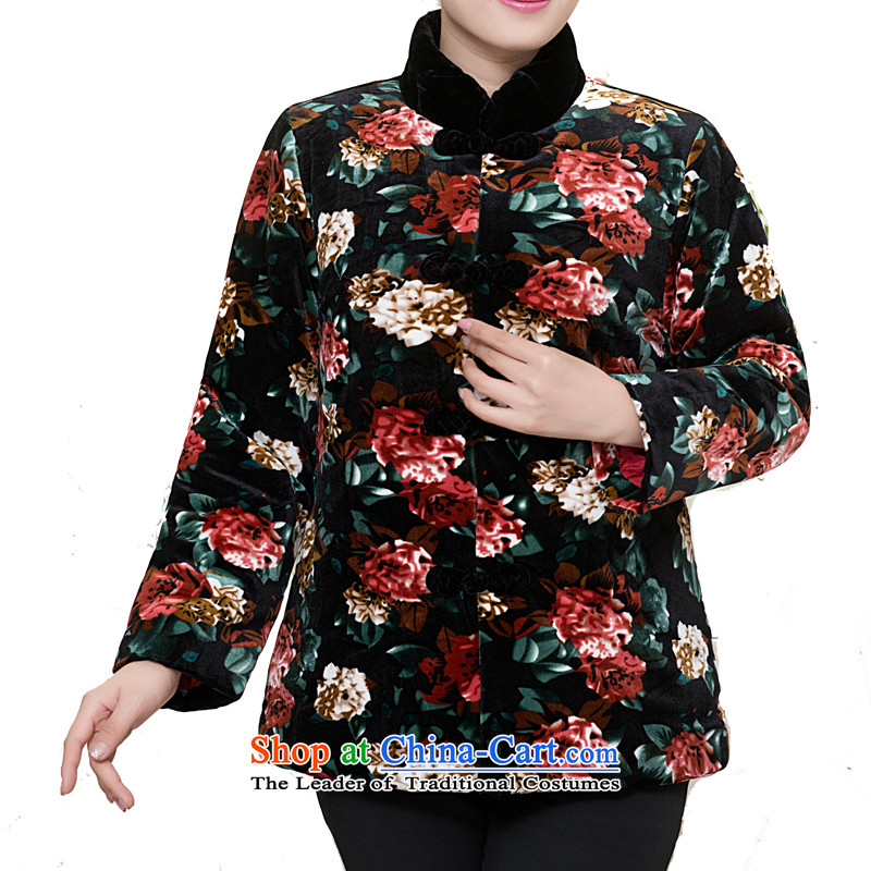 Bosnia and thre line of the new tray snap winter in older ?t��a Ms. Tang jackets of ethnic Chinese Mock-Neck Shirt thoroughly?F858-2 mother grandma lightweight?black safflower?XXL