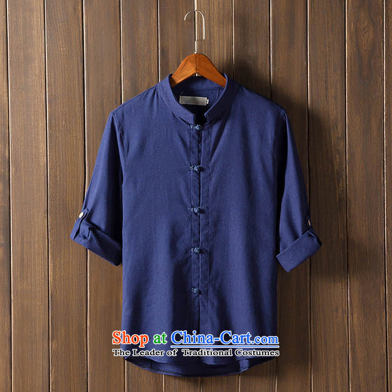 The autumn and winter new national costumes men Tang Dynasty Chinese tunic characteristics of nostalgia for the Tang dynasty men wearing dark blue?5XL JSL022YZ