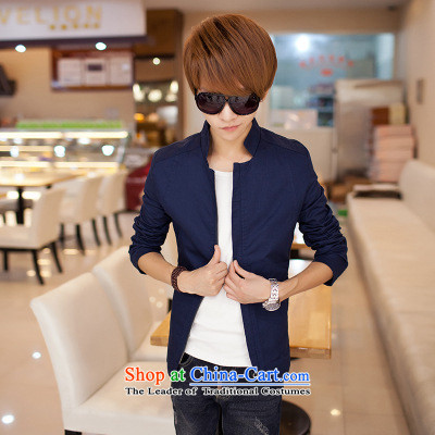 The autumn and winter new national costumes men Tang Dynasty Chinese tunic characteristics clothing jacket jacket thin JSL018YZ Sau San Navy?M