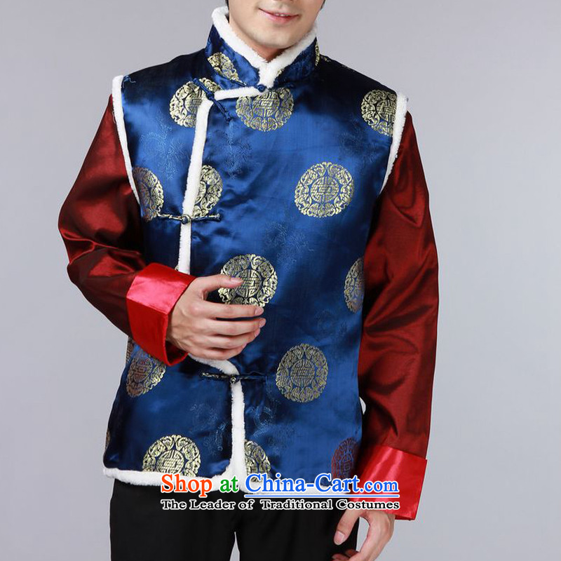 The autumn and winter new national costumes men Tang Dynasty Chinese tunic characteristics for winter clothing Chinese JSL015YZ, a dark blue S