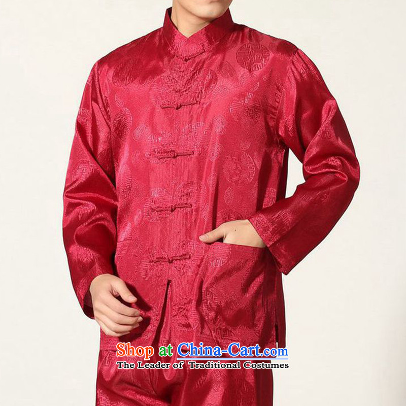 The autumn and winter new national costumes men Tang Dynasty Chinese tunic characteristics of Tang Dynasty outfits clothing kit JSL016YZ wine red?L