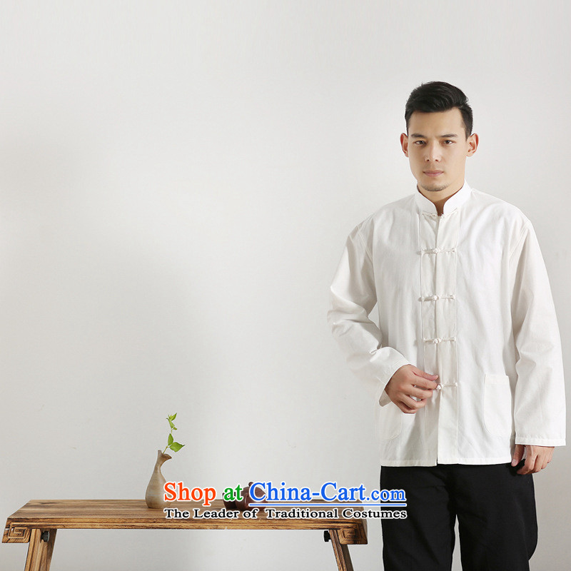 The autumn and winter new national costumes men Tang Dynasty Chinese tunic characteristics clothing Tang dynasty male Han-long-sleeved JSL017YZ White 185