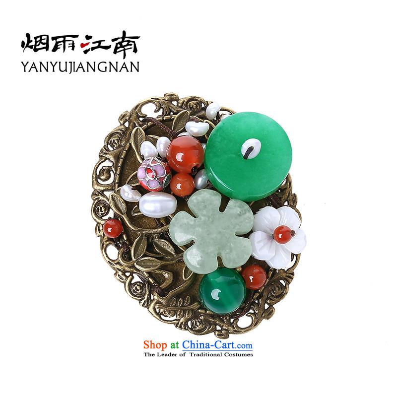Gangnam-gu rainy ethnic retro pin brooches shawl tie Cardigan Chest Flower minimalist decor pearl accessories