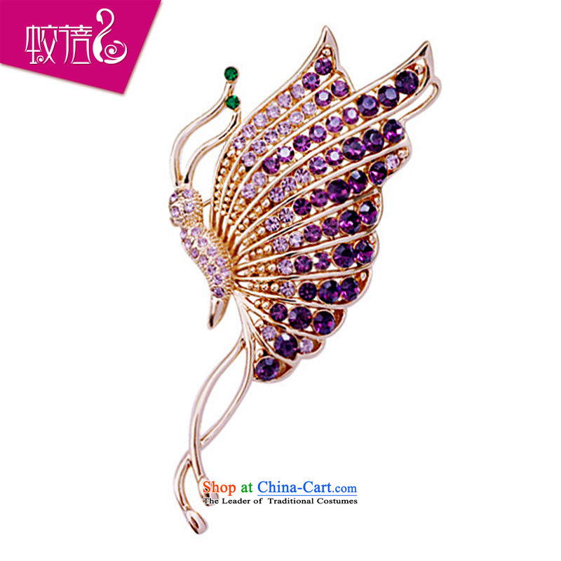 Mrs Ingrid or brooches upscale female Chest Flower retro jewelry Artificial Crystal Light Purple Butterfly