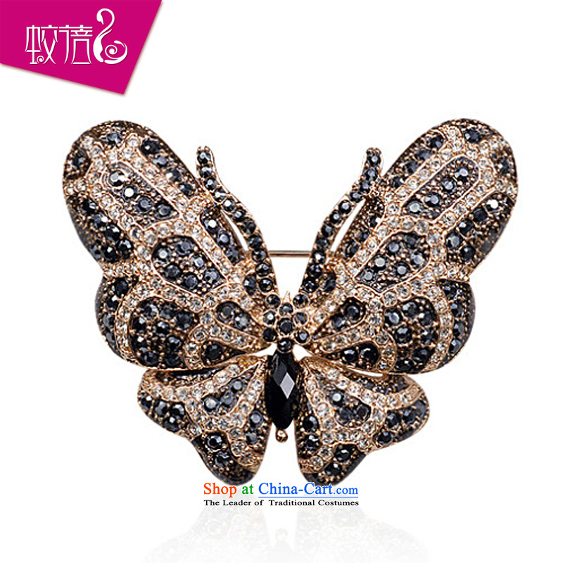 Mrs Ingrid or brooches upscale female Chest Flower pin silk scarf clip retro emulation crystal accessories Black Butterfly Dance