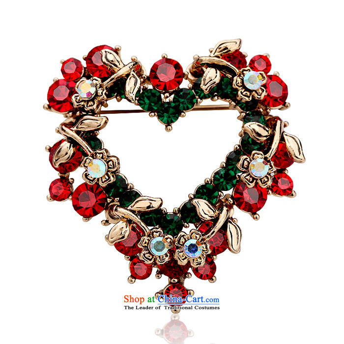 Card Lomé Brooches Korean stylish crystal heart-shaped upscale love wreath Chest Flower Heart Pin buckle shawl Christmas elegantly decorated with ornaments holiday gifts