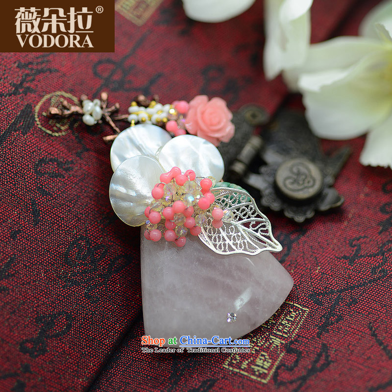 Ms Audrey EU's VODORA Korean natural stone colored flowers of the Addis Ababa retro brooches clip, Korean female temperament jewelry Chest Flower Korean flower silver leaf powder to the undersheet Diamond