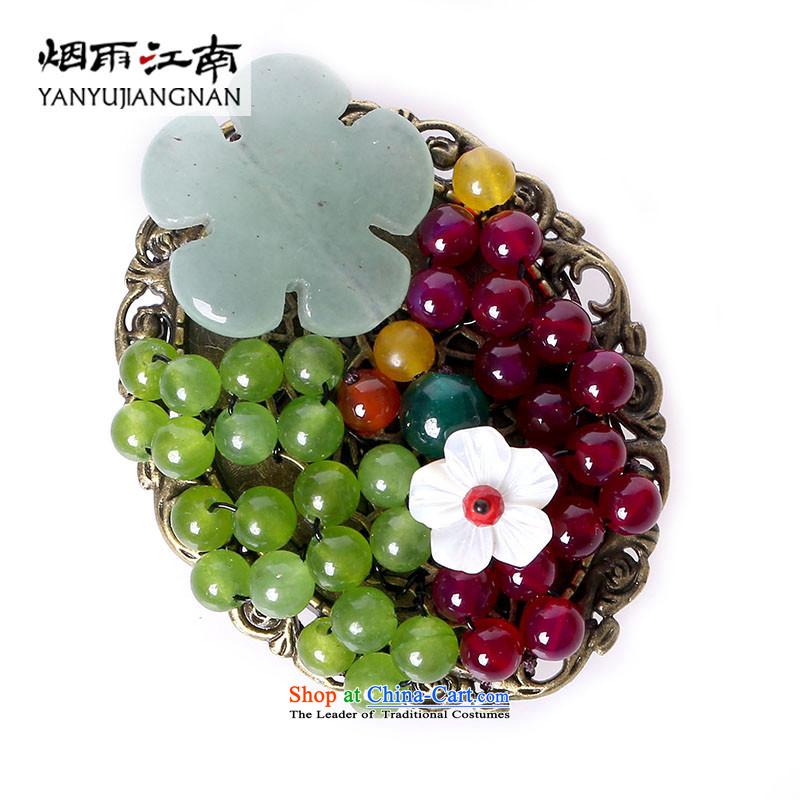 Gangnam-gu rainy color Chalcedony Dzi brooches retro manually accessories birthday gift