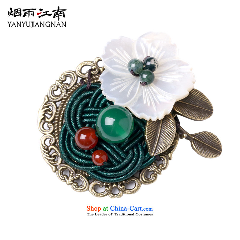 Gangnam-gu rainy retro handcrafted ethnic shell flower agate metal brooches arts van picture_