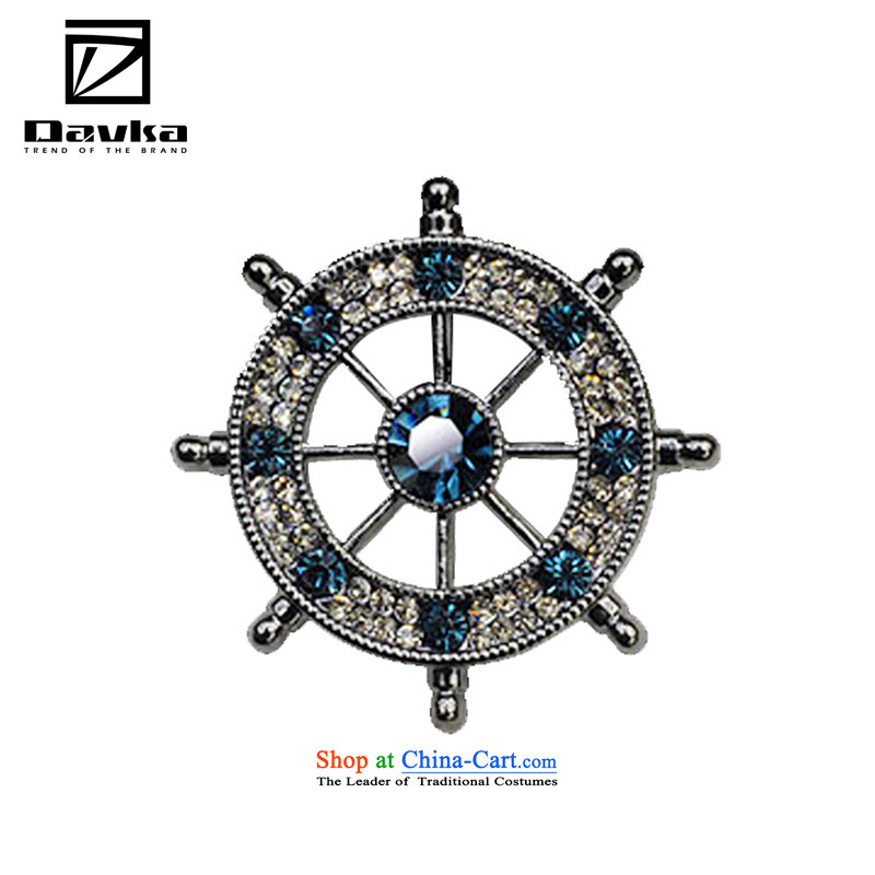 Davka jewelry brooches retro Chest Flower suit male pins accessories anchor and the steering gear blue rudder
