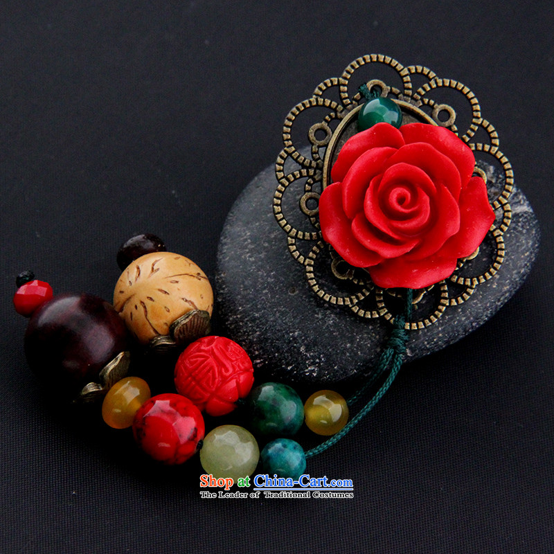 Hanata manually for retro ethnic brooches Chest Flower paint carved rose to the undersheet hanging ornaments with gift female