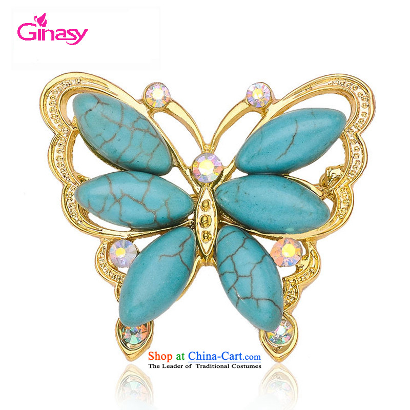 Stylish jewelry Western Wind ginasy parquet natural turquoise butterfly brooches insects clothing Clothing Accessories