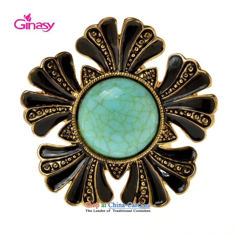 Ginasy  stylish and simple three-ring silk scarf detained temperament air hostesses vocational silk scarf ring water drilling flowers silk scarf and shawl detained Fashion Jewelry Gold