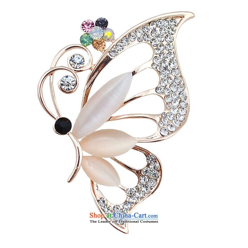 Silver edge Korea stylish Sweet to Po Crystal Brooches Ms. suit accessories butterfly Chest Flower Clothing Gifts stylish butterfly brooches drill - Color