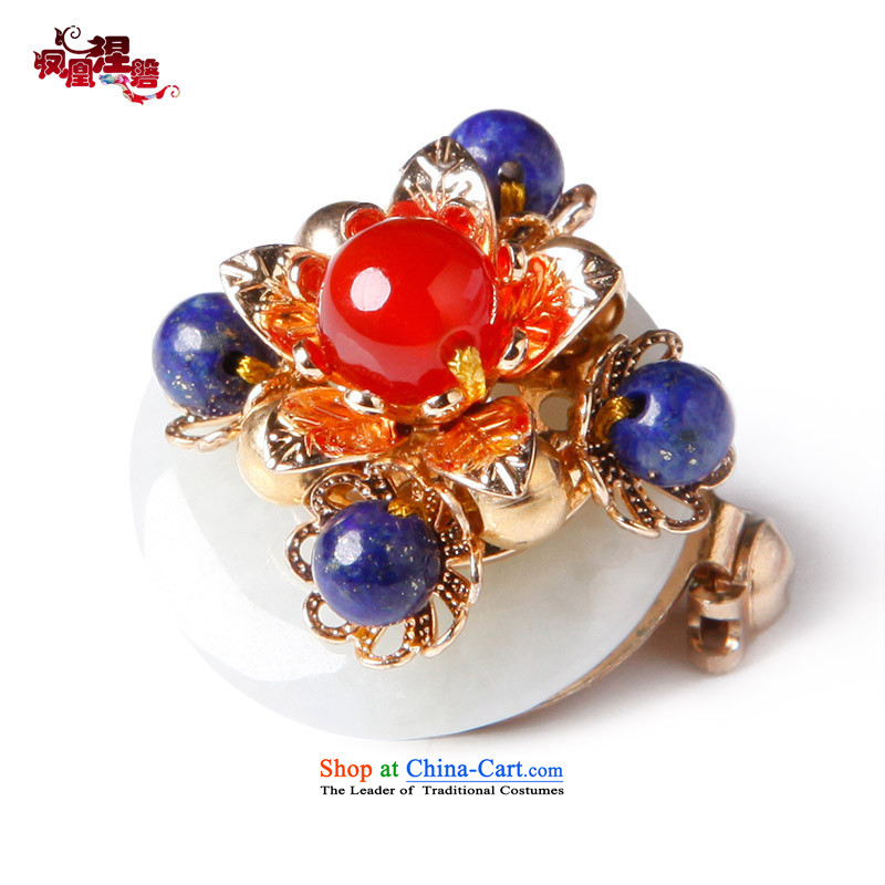 Phoenix Nirvana Chest Flower girl retro upscale Myanmar jade lapis sweater pintle brooches China wind with ornaments