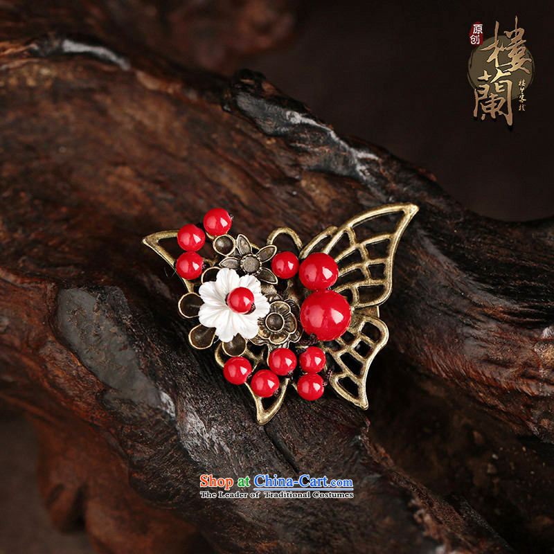 The shells of ethnic accessories accessories retro pin brooches sweater coats butterfly red Chest Flower