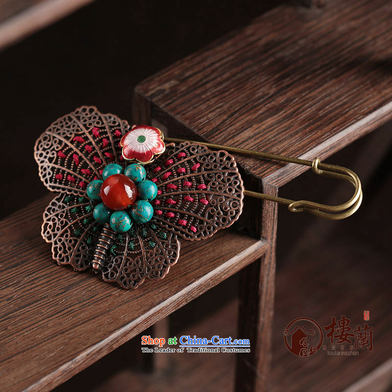 Maximum pin butterfly ethnic sweater brooches coats Chest Flower Cloisonne Accessory agate retro jewelry female